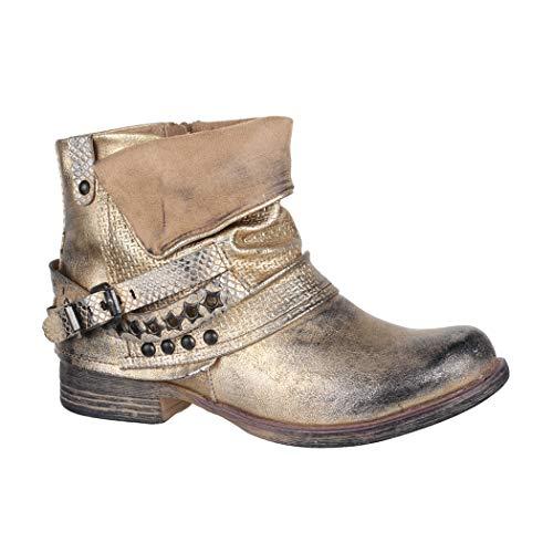 Elara Damen Biker Boots Nieten Stiefeletten Chunkyrayan BZ8399-KB Gold-38