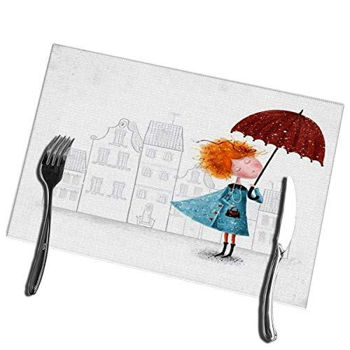 Winter-South keukentafelmat met rood hoofd, meisje met paraplu van blauwe mantel op matten, vuilafstotend voor steden 12 inch (B) x 18 inch (L)