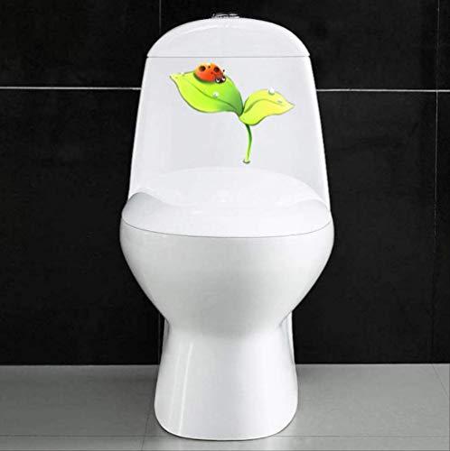 Toilet Sticker Kever Op Plant Bladeren Cartoon Kinderen Slaapkamer Decor Muursticker 22.8 * 18.4Cm
