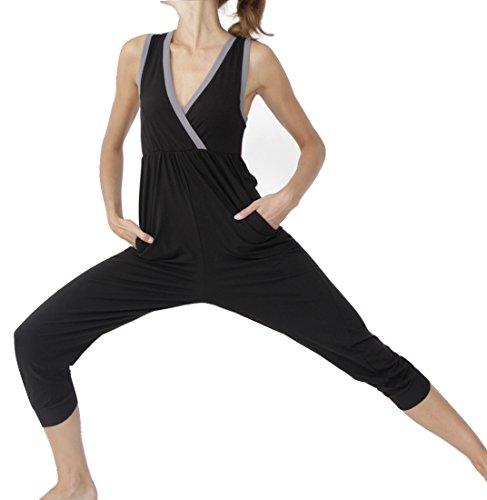 Prancing Leopard Damen Yoga Overall Toulouse in Bio Baumwolle Elegante Schwarze 3/4 Lange Hosenanzug - XL - Charcoal Black