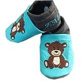 Handmade Lederpuschen Kinderschuhe Babyschuhe Bär