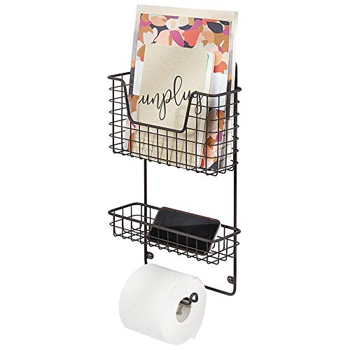 mDesign Wall Mount Metal Toilet Tissue Paper Roll Holder and Dispenser - 3 Tier Bathroom Storage Organizer with Magazine Rack Basket and Accessory Tray - Bronze