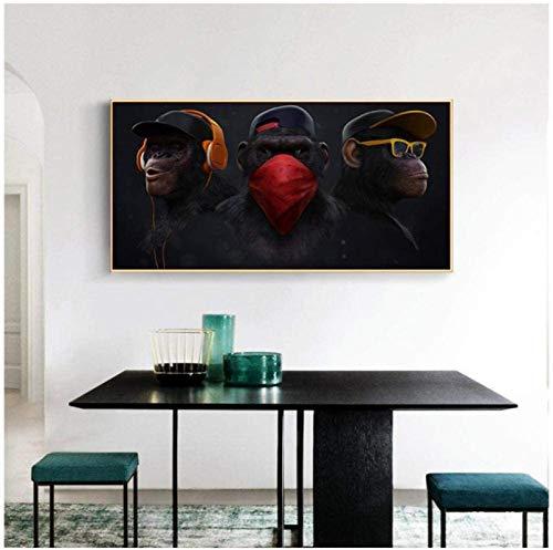 CAPTIVATE HEART Druck auf Leinwand 60x80cm ohne Rahmen Wandkunst Gemälde Drucke Swag Monkey Orang-Utan Apeman Coole Moderne Art Wandplakat Wohnkultur Wohnzimmer Dekoration