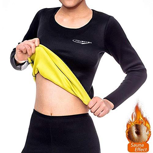 NOVECASA Camisa Sauna Mujer Neopreno Deportivos Body Shaper Shirt para Sudoración Quema Grasa Adelgazante (L, Negro-Amarillo)