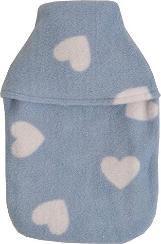 Gezellige Fleece Hemel Blauw Liefde Harten Ontwerp 1L Kleine Hot Water Fles & Cover