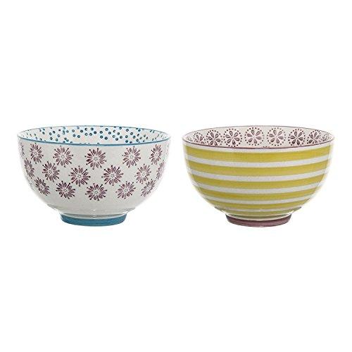 Bloomingville Schalen Patrizia, lila blau gelb, Keramik, 2er Set