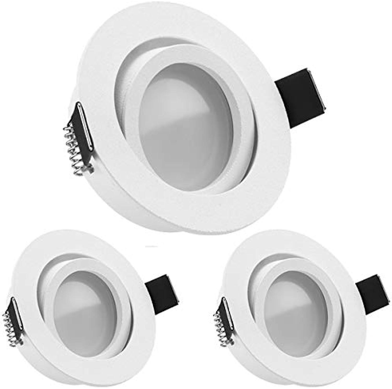3er LED Einbaustrahler Set Wei matt mit LED GU10 Markenstrahler von LEDANDO - 5W DIMMBAR - warmweiss - 110° Abstrahlwinkel - schwenkbar - 35W Ersatz - A+ - LED Spot 5 Watt - Einbauleuchte LED rund