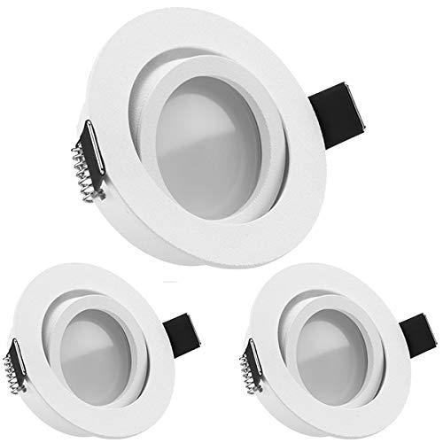 3er LED Einbaustrahler Set Weiß matt mit LED GU10 Markenstrahler von LEDANDO - 5W DIMMBAR - warmweiss - 110° Abstrahlwinkel - schwenkbar - 35W Ersatz - A+ - LED Spot 5 Watt - Einbauleuchte LED rund