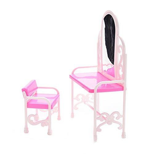 TYKusm Süße Puppenhaus Mini Schlafzimmer Möbel Frisiertisch und Stuhl für Barbies Puppen (Pink)