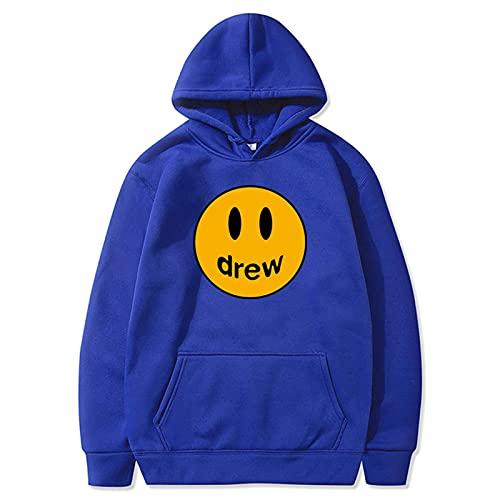 Drew Ju-stin Bi-eber Hoodie, Männer- und Frauenjugend, Unisex Pullover mit Kapuze,Blau,M