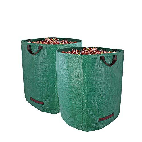 BigDean Gartenabfallsack XXL 272L im 2er Set - Polypropylen-Gewebe 150g/m² extra robust - wasserdicht & reißfest - Perfekter Behälter für Laub, Müll, Grünabfall, Grüngut & Kompost