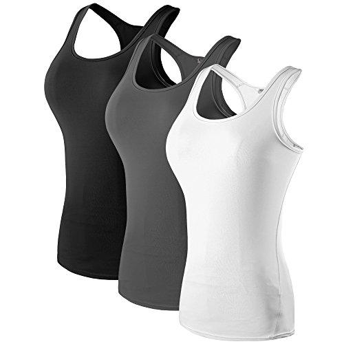 Women's 3 Pack Compression Base Layer Dry Fit Tank Top Black,Gray,White XL (Label XXL)