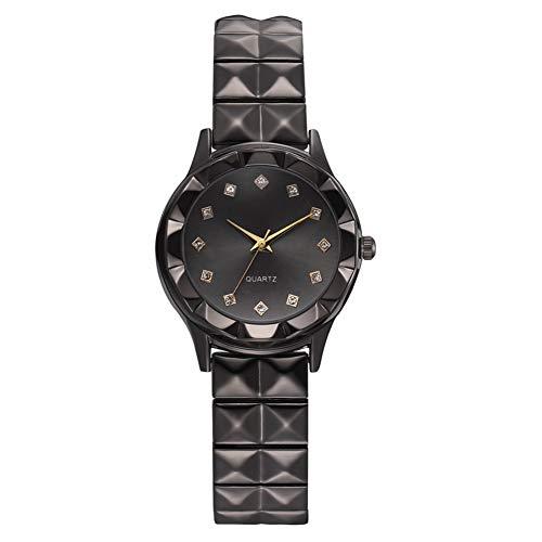 GJHBFUK Reloj Mujer Moda Causal Strap Strap Ladies Watch Rhinestone Decorated Gift Watch (Esfera Negra)