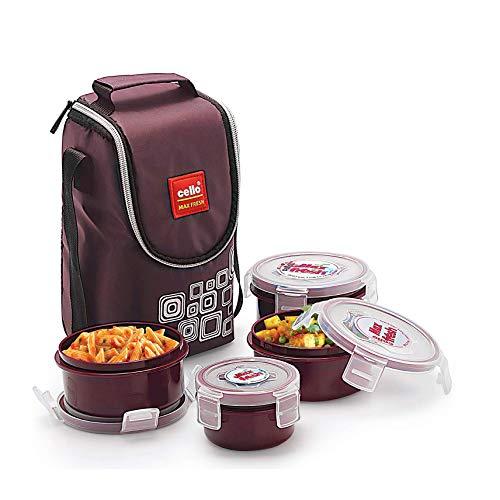 Cello Max Fresh Click Polypropylene Lunch Box Set, 300ml, 4-Pieces, Brown