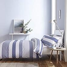 Catherine Lansfield New Quay Stripe Nórdica + Funda de Almohada Cama 90 cm, Cotton, Azul, 160 x 220 + 50 x 110 cm, 2