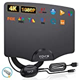 TV Antenna Indoor Digital HD by TGVi's, 2021 Newest Amplified Digital Antenna for HDTV Up to 120 Miles Range,Powerful Amplifier Signal Booster, 4K 1080P UHF VHF Free HDTV Channels, 14ft Cable