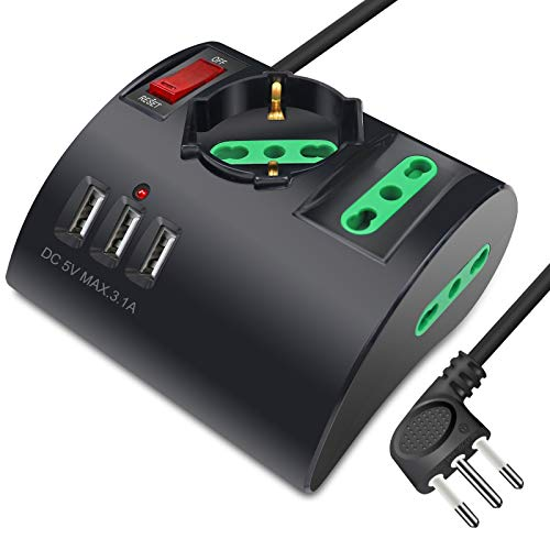 Extrastar Multipresa da Scrivania/Tavolo con 3 Presa USB,Presa con interruttore automatico di protezione 10A,Nero,2500W,3 Prese (2 ITA/Schuko),1.5M