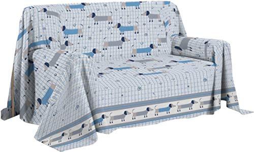 Pezzoli Shop telo arredo BASSOTTI copritutto copridivano granfoulard (Azzurro, cm 250 x 290)