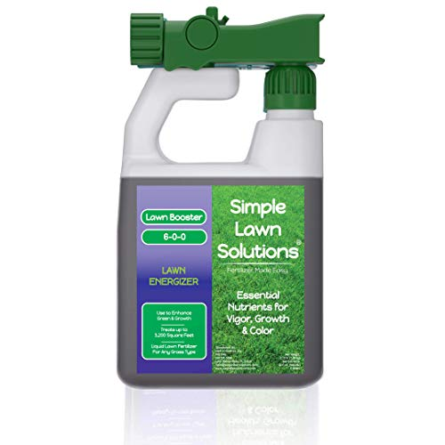 Commercial Grade Lawn Energizer- Grass Micronutrient Booster with Iron & Nitrogen- Liquid Turf Spray Concentrated Fertilizer- Any Grass Type, All Year- Simple Lawn Solutions- 32 Ounce