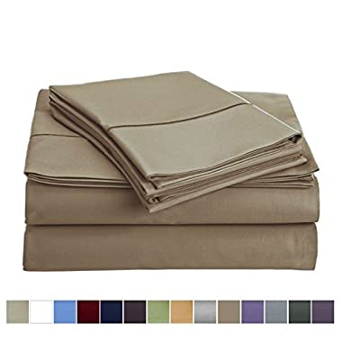 Audley Home 800 Thread Count Sheet Set (1 Flat Sheet 1 Fitted sheet & 2 Pillowcases) 100% Long Staple Egyptian Cotton Luxurious Hotel Collection 4 Piece (Taupe, Queen)