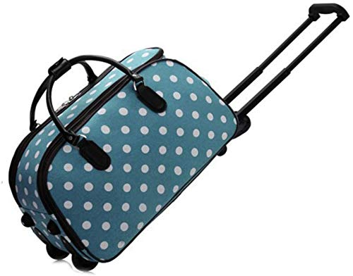 Craze London New Ladies Travel Holdall Bags Hand Luggage Womens Design Print Weekend Wheeled Trolley Bag (309 Blue)