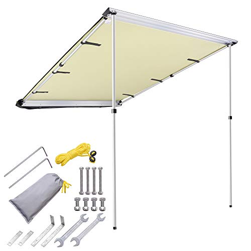 Yescom 4.6x6.6' Car Side Awning Rooftop Pull Out Tent Shelter PU2000mm UV50+ Shade SUV Outdoor Camping Travel Beige