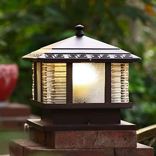 Faro de columna exterior farola lámpara iluminaci Vintage impermeable al aire libre de fundición a presión columna de vidrio del anuncio Luces retro lámparas de jardín de la calle antigua de Villa Pue