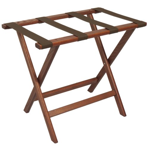 Wooden Mallet Deluxe Straight Leg Luggage Rack,Brown Straps, Mahogany