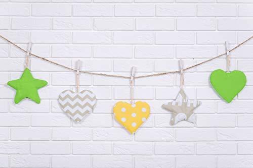 Amilian® Hängedeko Stern Herz Mond 5 Stück Design34 Wanddeko Anhängsel Gehänge Baby für Kinderbett NEU