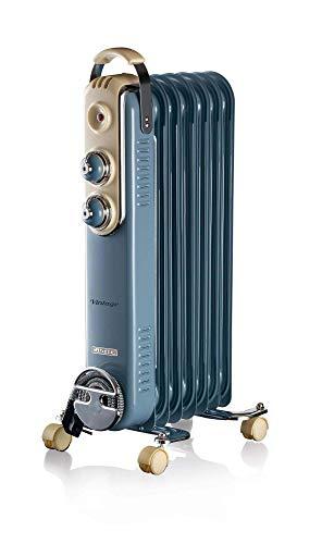 Ariete 837 - Radiador de aceite vintage, 7 elementos calefactores, 3 niveles de potencia, asa para fácil transporte, máx. 1500 W, azul claro