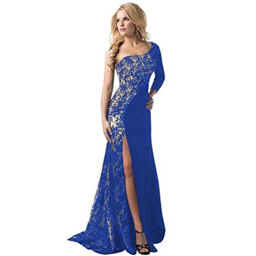 Goddessvan Women Formal Wedding Bridesmaid Long Ball Prom Gown Cocktail Dress Patchwork Dress (M, Blue)