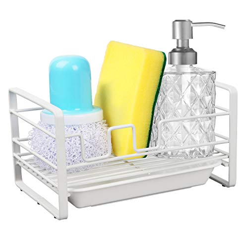HULISEN Sponge Holder, Kitchen Sink Organizer, Sink Caddy, Sink Tray Drainer Rack, Brush Soap Holder with Removable Tray (White)