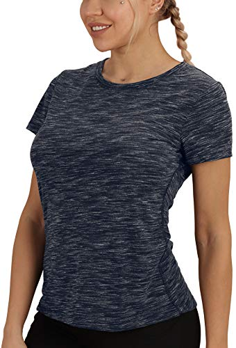 icyzone Damen Kurzarm Shirt Atmungsaktiv Oberteile Fitness Gym Top Casual T-Shirt (S, Navy)