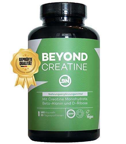 Beyond Creatin Kapseln mit Kreatin Monohydrat, D-Ribose, Beta-Alanin & Alpha-Liponsäure für Muskelaufbau. 180 vegane Kapseln hochdosiert, Sportnahrung für Kraftsportler