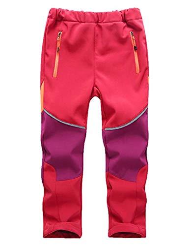 FAIRYRAIN Kinder Jungen Mädchen Winter Warm Softshellhose mit Fleecefütterung Wasserabweisend Winddicht Atmungsaktiv Outdoorhose Skihose Wanderhose Regenhose Sporthose L Rot-violett