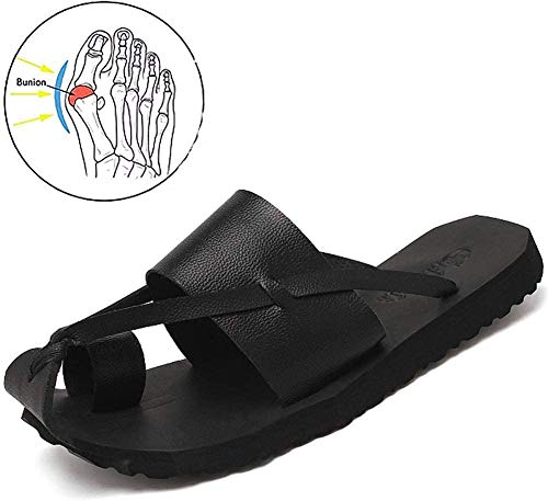 Men's Clip Toe Flat Slippers Big Toe Bone Corrector Sandals Open Toe Orthopedic Flip Flop with Arch Support Pain Relief Hallux Valgus Bunion Non Slip Bottom Slippers,Black,44