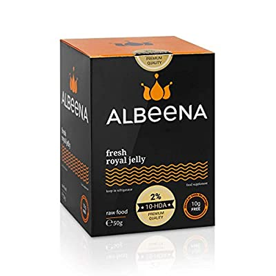 ALBEENA Pure Fresh Royal Jelly 50g + 10g Free - 100% Natural, Gluten Free, Non-GMO Royal Jelly- Comes in Isothermal Box Plus Free Dosing Spoon