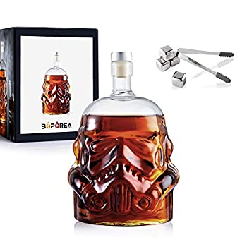 Transparent Creative Whiskey Flask Carafe Decanter with 4 Stainless Steel Ice Cubes and Ice Tong,Whiskey Carafe,Whiskey Glasses for Wine,Brandy,Scotch,Bourbon,Vodka,Liquor-750ml