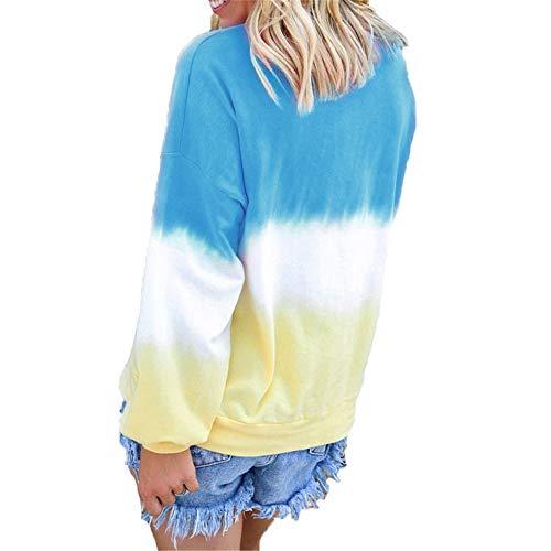 qulvyushangmaobu Sudadera con Capucha de señora Camiseta Casual con Estampado de Rayas de Color Arco Iris Sudadera Suelta Top Otoño de Manga Larga Suéter Chaqueta básica de Punto Salvaje Sudadera