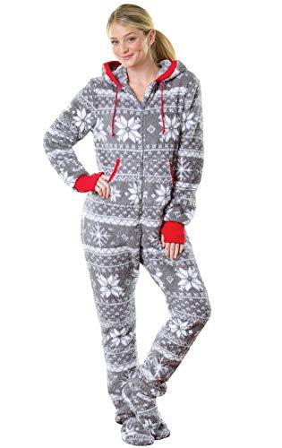 PajamaGram One Piece Pajamas for Women - Fleece Womens Onesie, Gray, M,...