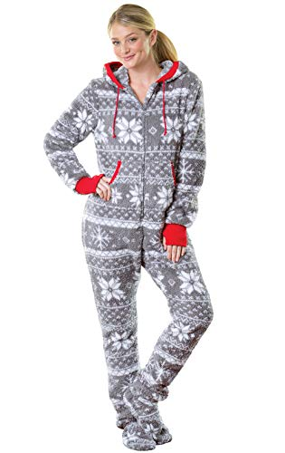 PajamaGram One Piece Pajamas for Women - Fleece Womens Onesie, Gray, M,...