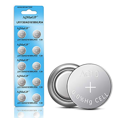 AjMaGP 10 Pack AG10 389A LR1130 LR54 L1131 SR1130 1.5v Button Cell Coin Battery