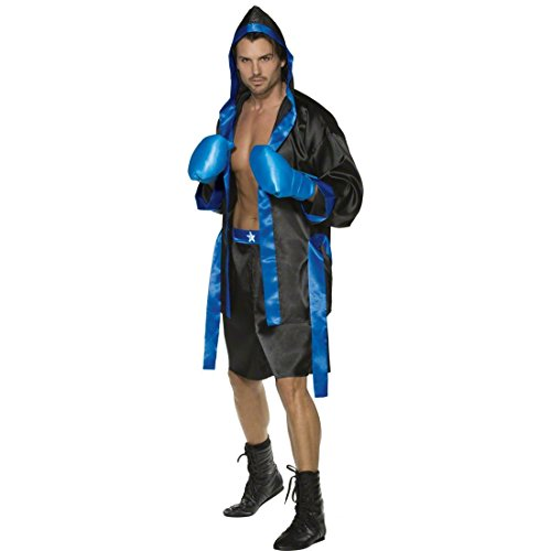 NET TOYS Boxer Kostüm schwarz-blau M 48/50 Ringer Kostümset Sportler Boxerkostüm Klitschko Box Herrenkostüm Tyson Boxring Männerkostüm