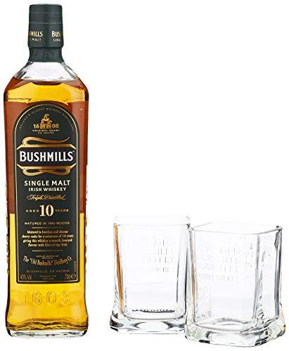 Bushmills Single Malt Irish Whiskey 10 Years Old mit Geschenkverpackung mit 2 Gläsern  (1 x 0.7 l)