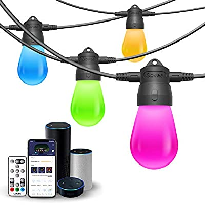 Govee Outdoor String Lights WiFi 24Ft 6 Bulbs LED String Lights work with Alexa, Bluetooth, Remote, RGB Color Changing String Lights Warm White Waterproof Connectable for Patio, Fence, Backyard, Party
