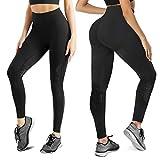 Gotoly Leggings Mujer Pantalones Deportivos Mallas de Deporte de Mujer Mallas para Running Pantalones de Yoga Pantalones sin Costura de Alta Cintura (Negro, Medium)