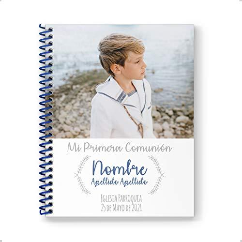 Onepersonal - Libreta Personalizada primera comunión | Cuaderno Personalizable niño para regalo de primera comunión para añadir Foto y texto | Diseño minimalista (Pack 30 Uds.)