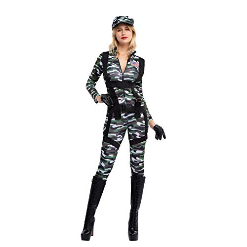 Spooktacular Creations Halloween Women Paratrooper Army Jumpsuit, Military Camouflage Costume w/Hat, Gloves and Harness (X-Large)