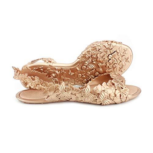 SUNIES Sandalen Damen Butterfly, Elegante Damensandalen Für Tag und Nacht, Bequem, Wasserfest, Nachhaltig und Recyclebar (Kupfer, Größe 39)