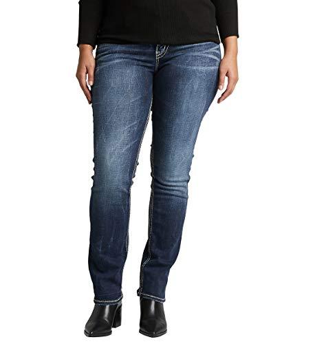 Silver Jeans Co. Women's Plus Size Suki Curvy Fit Mid Rise Straight Leg Jeans, Vintage Dark Wash with Lurex Stitch, 16W X 32L